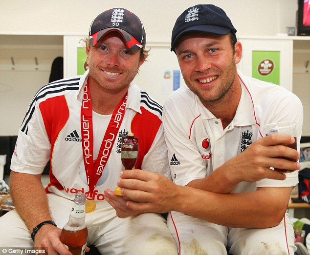 Pair of Bears: Trott (right) and Warwickshire team-mate Ian Bell celebrate Ashes success in 2009