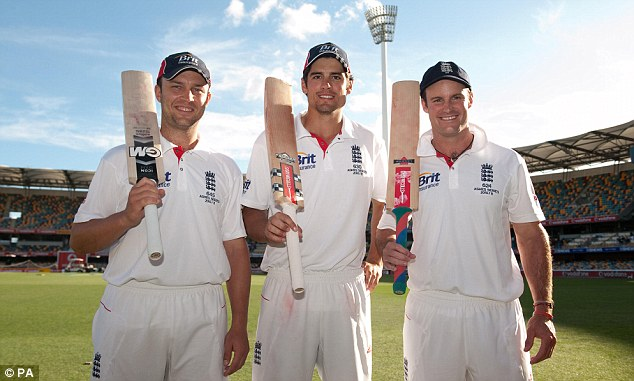 Centurions: Trott (left), Cook (centre) and Strauss celebrate their feat after the Brisbane Test in 2010