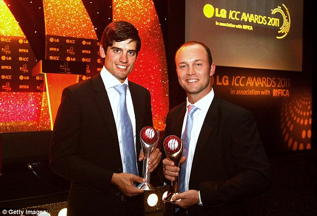 Honoured: Trott (right) with the ICC Cricketer of the Year Award in 2011