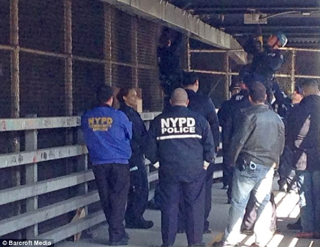 Crowd: Members of the NYPD looked on as officers pulled down items on Thursday morning