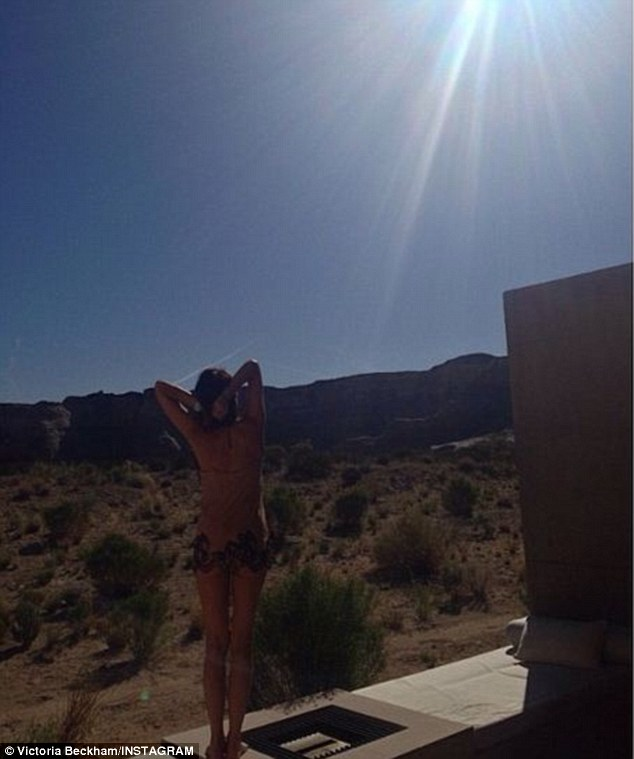 It's my birthday: Victoria shared this shot, taken from a luxury resort in the Utah desert, on Thursday