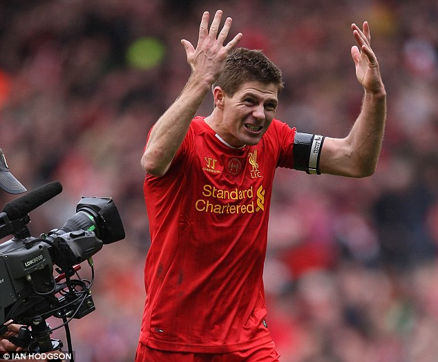 Passionate: The emotion of the Manchester City win was evident for Gerrard