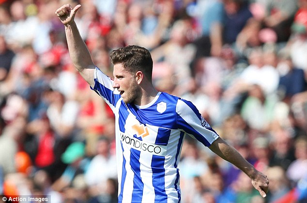 Good to bad: Sheffield Wednesday's Sam Hutchinson scored but was later sent off against Bournemouth