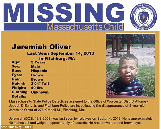 Missing: The search had been going on since December although young Jeremiah Oliver has not been seen since September