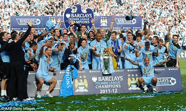 Winners! Manchester City clinched the Premier League title under Roberto Mancini in the 2011/12 season