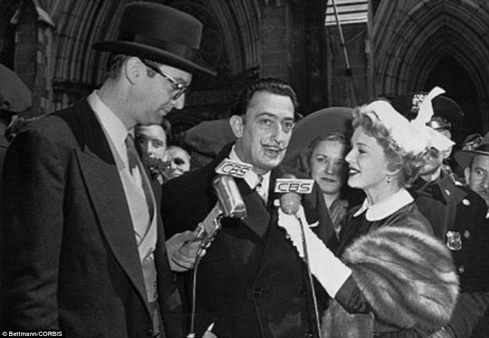 Quite a buzz: TV stars Steve Allen, (L) and Eva Gabor, interview Surrealist Salvador Dali, (C) in front of St Patrick's Cathedral during the Easter Parade in 1951