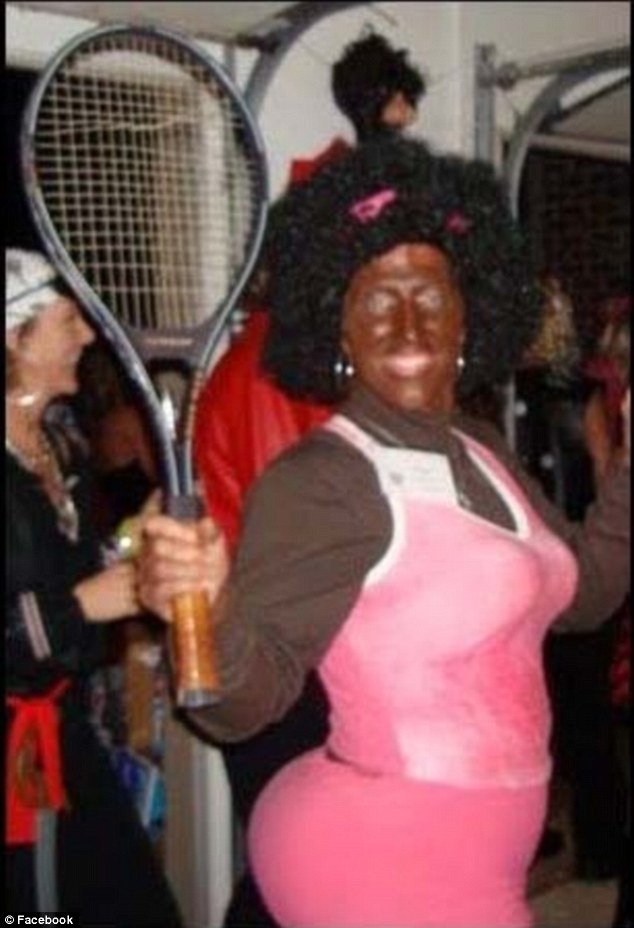 Blackface: North Carolina school board member Anna Bonham wore this 'Serena Williams costume' to a Halloween party about five years ago