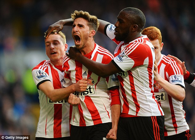Winner: Liverpool loanee Fabio Borini coolly slotted home the penalty to give Sunderland a vital three points
