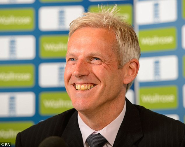 All smiles: New England coach Peter Moores during the press conference at Lord's