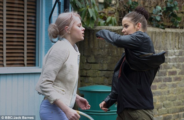 Suspect? Jacqueline Jossa, who plays Lucy¿s on-screen best pal Lauren Branning, is one of the murder suspects as they have previously argued in the soap