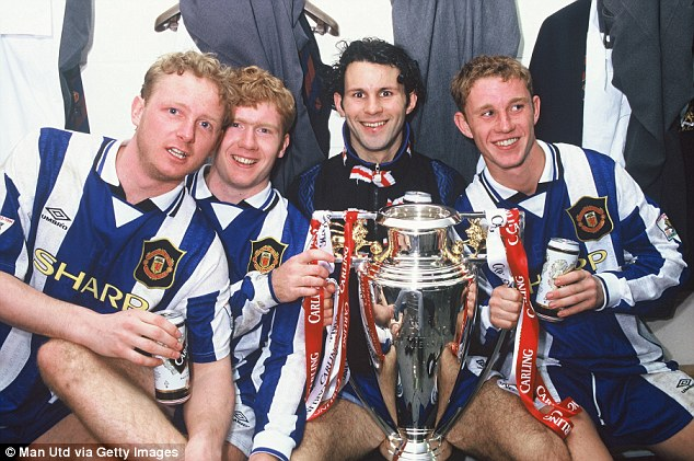 Mix of youth and experience: Manchester United won the title in 1996 with a mix of old and young players