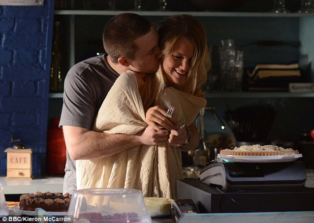 Caught in the act: Lee and Lucy enjoy a nearly naked breakfast together, before father Ian finds out what they have been up to