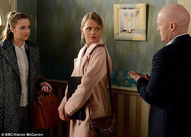 Caught in the middle: Lauren Branning (left) is unbeknownst that best friend Lucy is having an affair with father Max (right)