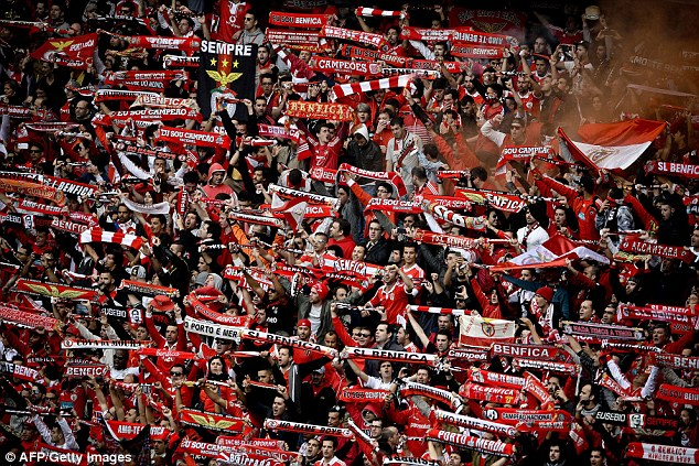 Jubilation: Benfica supporters celebrate their team's success