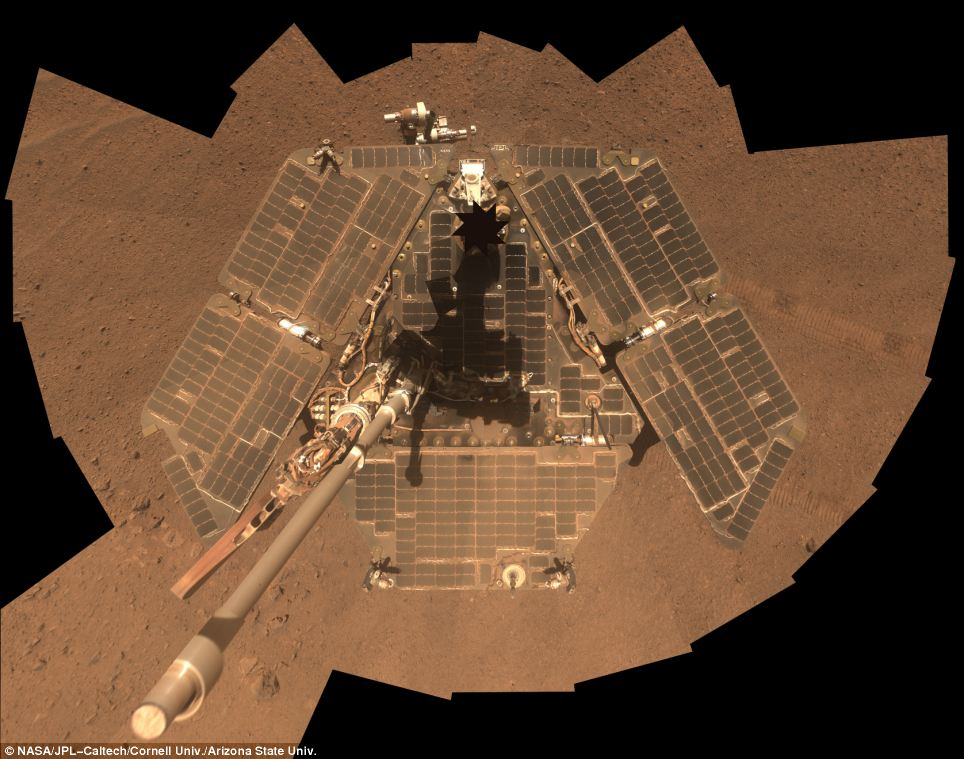 After: In its sixth Martian winter, NASA's Mars Exploration Rover Opportunity now has cleaner solar arrays than in any Martian winter since its first on the Red Planet, in 2005.
