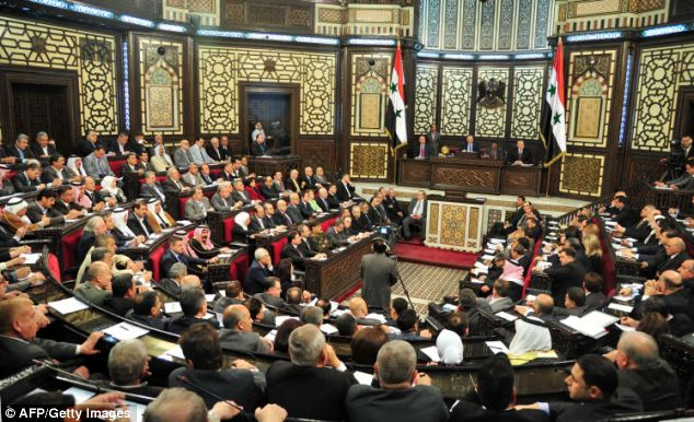 The Syrian parliament convening in Damascus. Syria will hold presidential elections that are expected to return President Bashar al-Assad to office on June 3