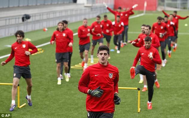 Prepare: Courtois trains with Atletico Madrid before the Champions League semi-final with Chelsea