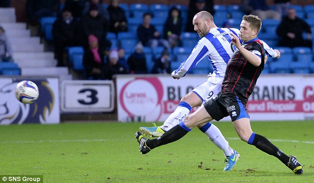 In form: Kilmarnock hitman Kris Boyd smashes home a goal against Inverness