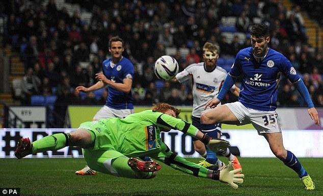 Denied: Leicester striker Dvid Nugent is thwarted by Bolton keeper Adam Bogdan