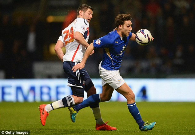 Not giving an inch: Lukas Jutkiewicz of Bolton Wanderers closes down Leicester's Matty James