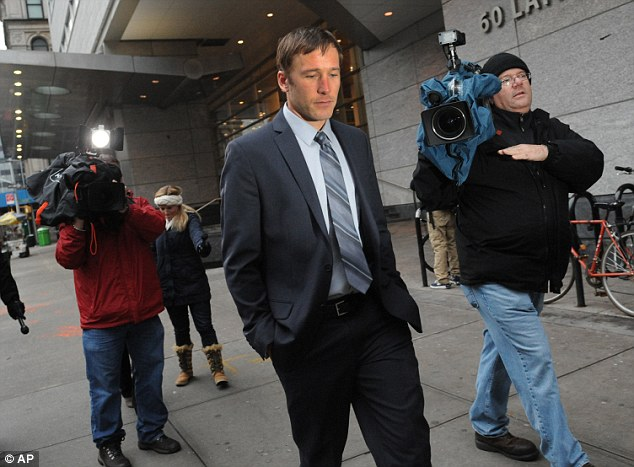 Agreement: Olympic skier Bode Miller (seen here in December) exits family court in New York. Miller and former Marine Sara McKenna have reached a temporary truce in their custody fight over their 14-month-old son
