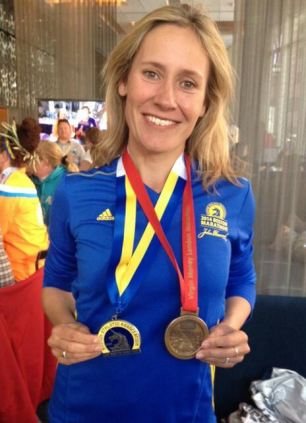 Raising money: Sophie Raworth ran both the London and Boston marathons for Cancer Research UK