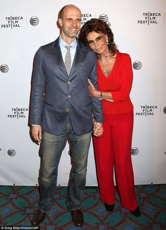 Doting mother: Sophia Loren arrived with her son Edioardo Ponti to a screening of their film Human Voice at the Tribeca Film Festival in New York on Monday