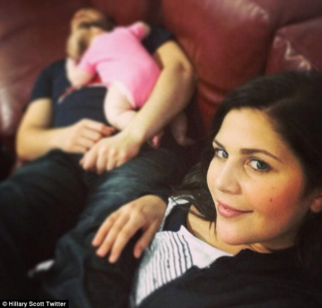 Baby boom: Hillary Scott shared a picture on Twitter last October of herself with husband Chris Tyrrell and their daughter Eisele born last July