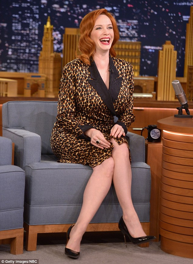 Having a blast: Christina was careful not to give anything away about the final series of the hit drama, despite host Jimmy Fallon's humorous attempts