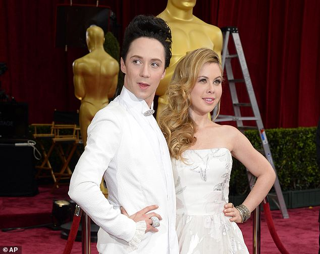 Foray into fashion: Johnny Weir and Tara Lipinski (seen together at the Oscars in March) made a splash for their sartorial choices while working as figure skating commentators at the Sochi Games