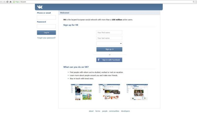 The homepage of VKontakte, a Russian version of Facebook, which was founded by Mr Durov