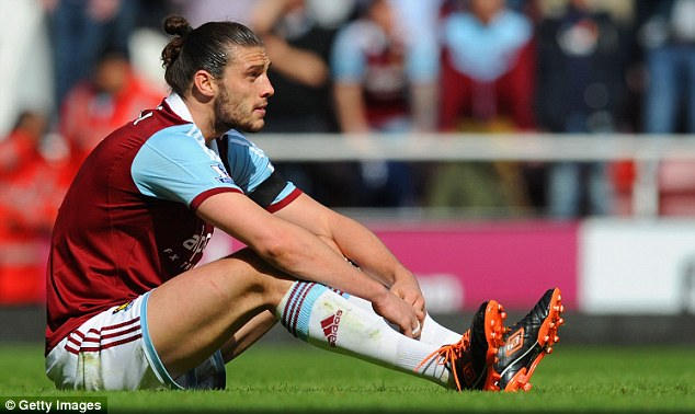 Blank looks: Andy Carroll has only scored in two of his last 13 matches for West Ham