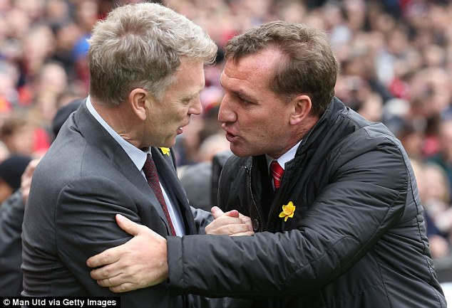 Contrast: Rodgers (right) has enhanced his reputation but Moyes (left) has been a failure at United