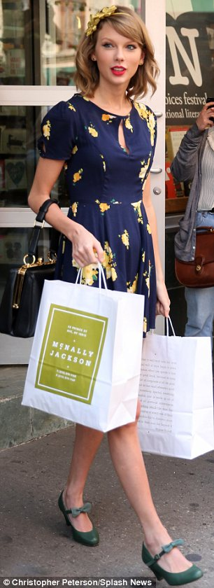 Treating herself: The I Knew You Were Trouble hitmaker was seen leaving McNally Jackson bookstore clutching a couple of carrier bags