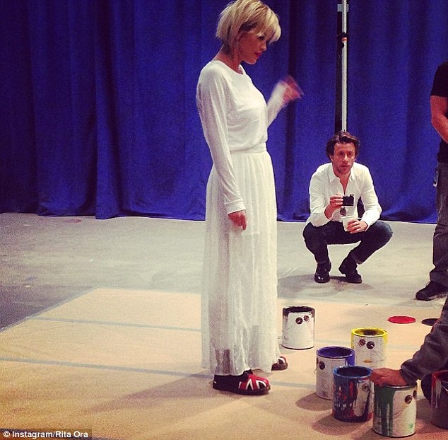 Arty permanence: Ora was surrounded by paint pots as she prepared for the chat show