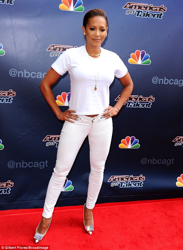 Close but no cigar: For the day of auditions, Mel B wore an all-white ensemble of skinny jeans with a short sleeve T-shirt that showed just a hint of the star's stomach