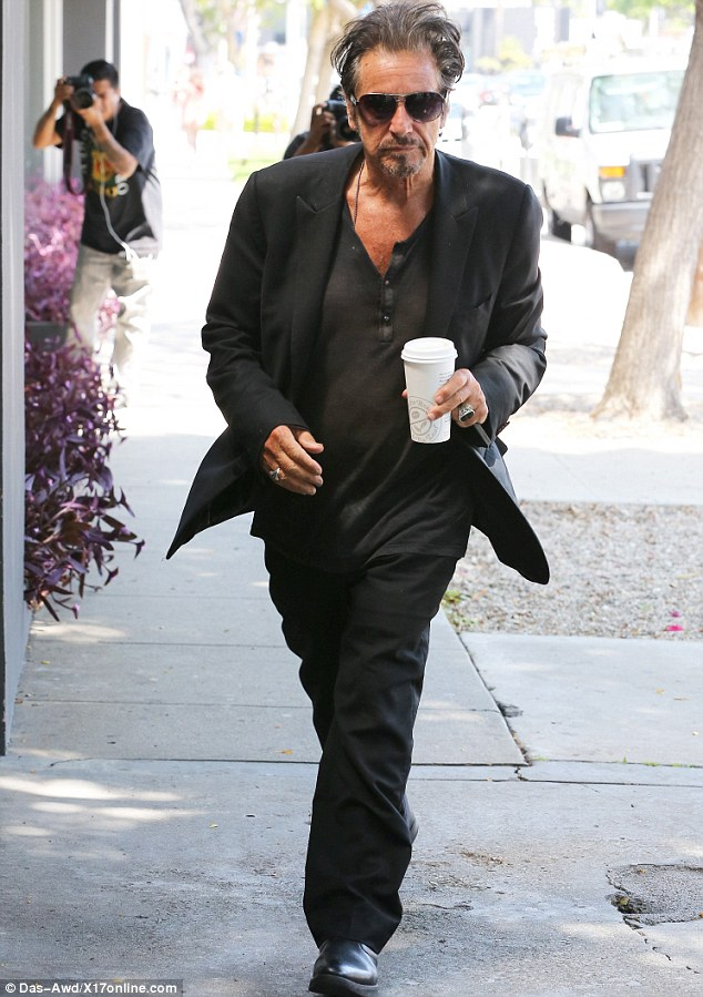 Cool customer: Al Pacino, 73, was spotted on his way to lunch at Madeo in Los Angeles on Tuesday