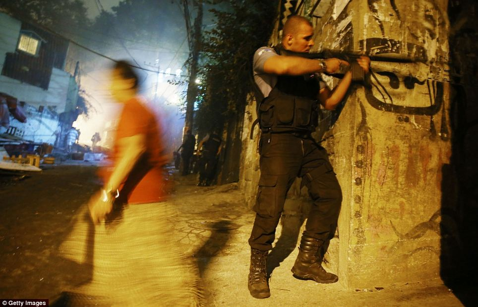 Elite police units entered the slum after protests started, and at least three prolonged exchanges of gunfire were heard