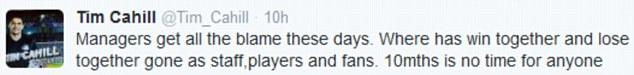 Tim Cahill's tweet