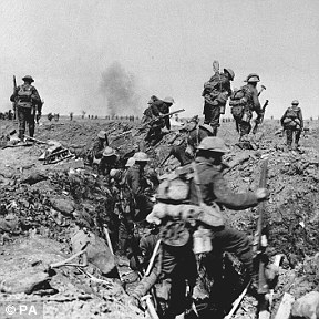 Troops from the British Army negotiate a trench during the Battle of the Somme, 1916 (stock image)