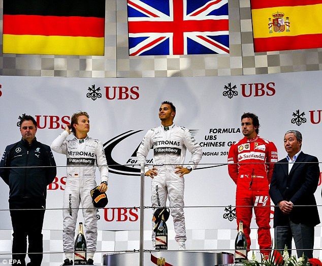 On the podium: Alonso came third, behind winner Lewis Hamilton and Nico Rosberg