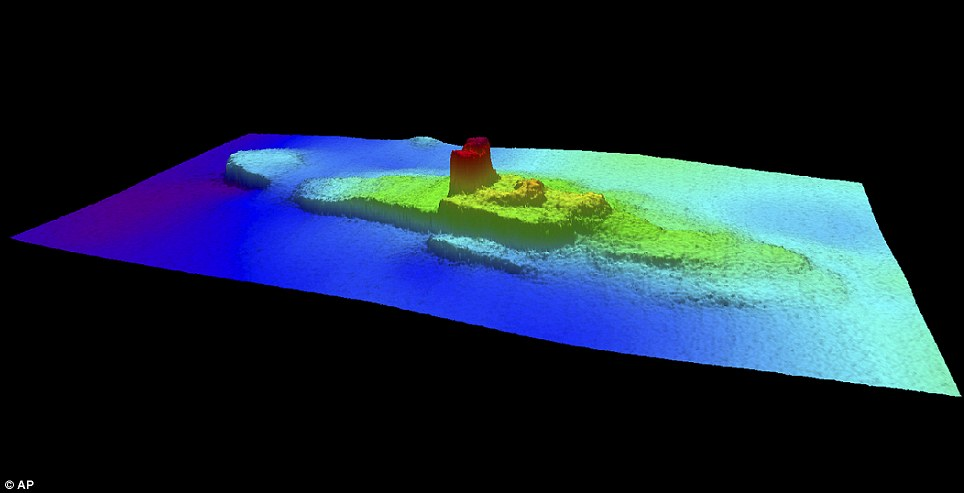 Located: The wreck of the City of Chester has been found 126 years after it sank under the Golden Gate Bridge. This 2013 image provided by the National Oceanic and Atmospheric Administration (NOAA) shows a multi-beam sonar profile view of the shipwreck of the iron and wood steamship