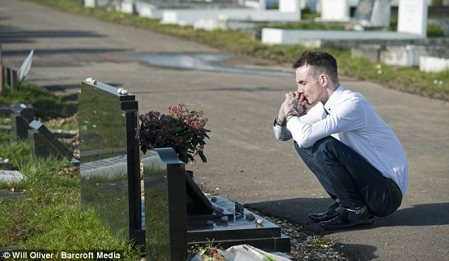 Thoughtful: Kneeling at the side of Amy's grace at Edgwarebury Lane Cemetery in Edgware, North London, Blake claimed he was to blame for the star's tragic passing