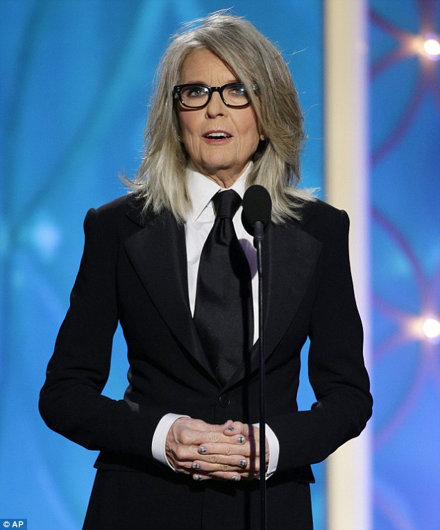 Despite the fact that she continues to land leading roles as she nears 70, Ms Keaton says that she still grapples with her fair share of insecurities (pictured in January 2014 at the Golden Globe Awards)