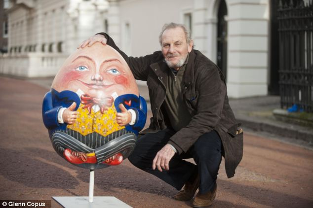 Artwork: Mr Shand with the Humpty Dumpty egg, signed by the Prince of Wales and the Duchess of Cornwall, outside Clarence House in 2012