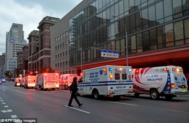 Emergency: According to police in New York, Mr Shand was taken to the Bellevue Hospital, where he was later pronounced dead
