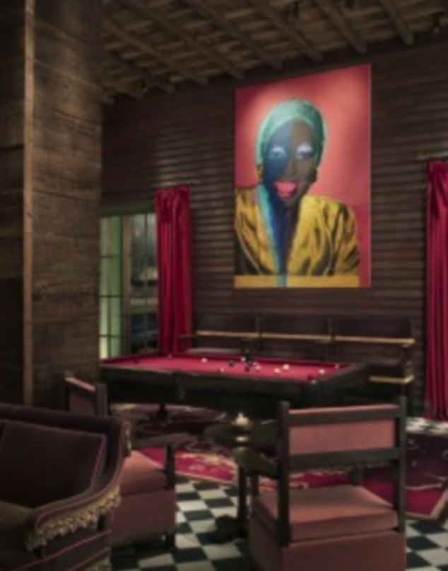 Exclusive: The Rose Bar, which is open until 4am, boasts furniture by Julian Schnabel, and the rotating art work on walls includes pieces by Andy Warhol, Damien Hurst and Keith Haring