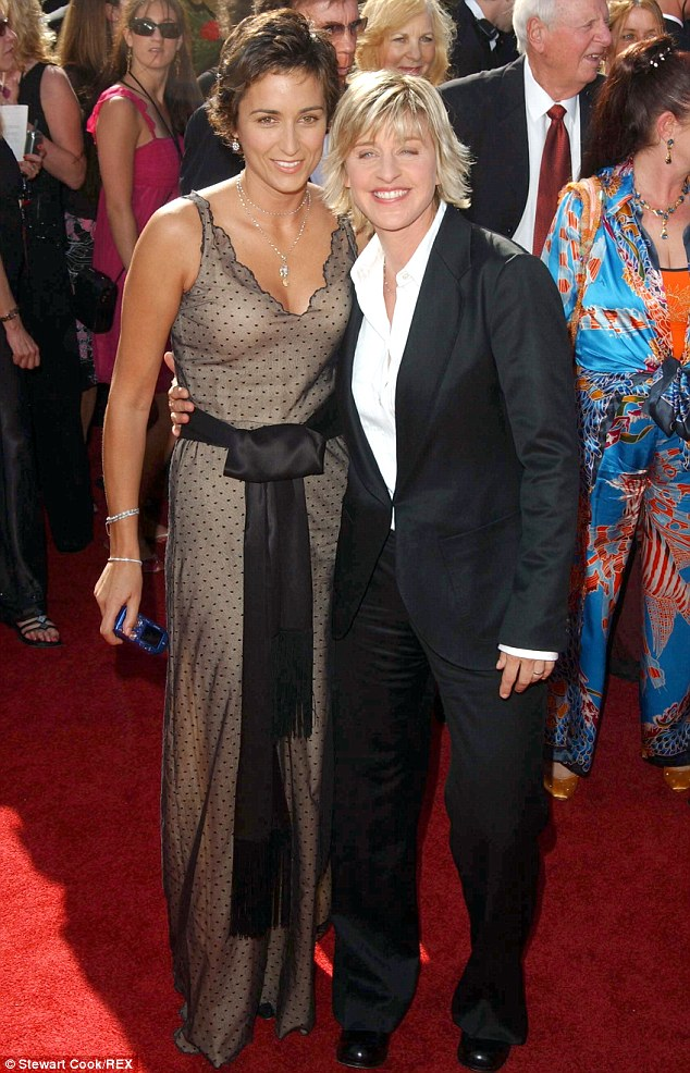 A decade ago: Hedison arm-in-arm with Ellen DeGeneres at the Emmys in 2004