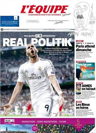 Local hero: Benzema stars on the back page of French daily L'Equipe