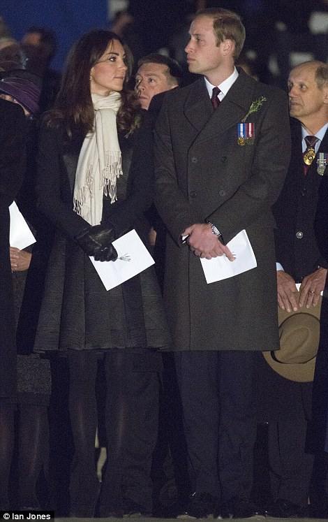 The Duke and Duchess of Cambridge attend the annual Anzac Day dawn service at the Australian War Memorial in Canberra